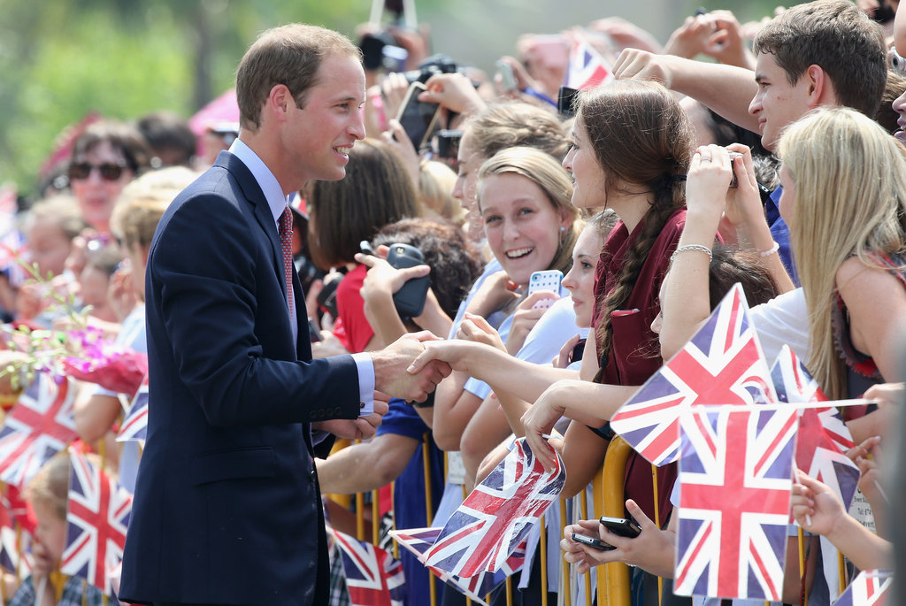Prince William shook hands with his admirers in Singapore.