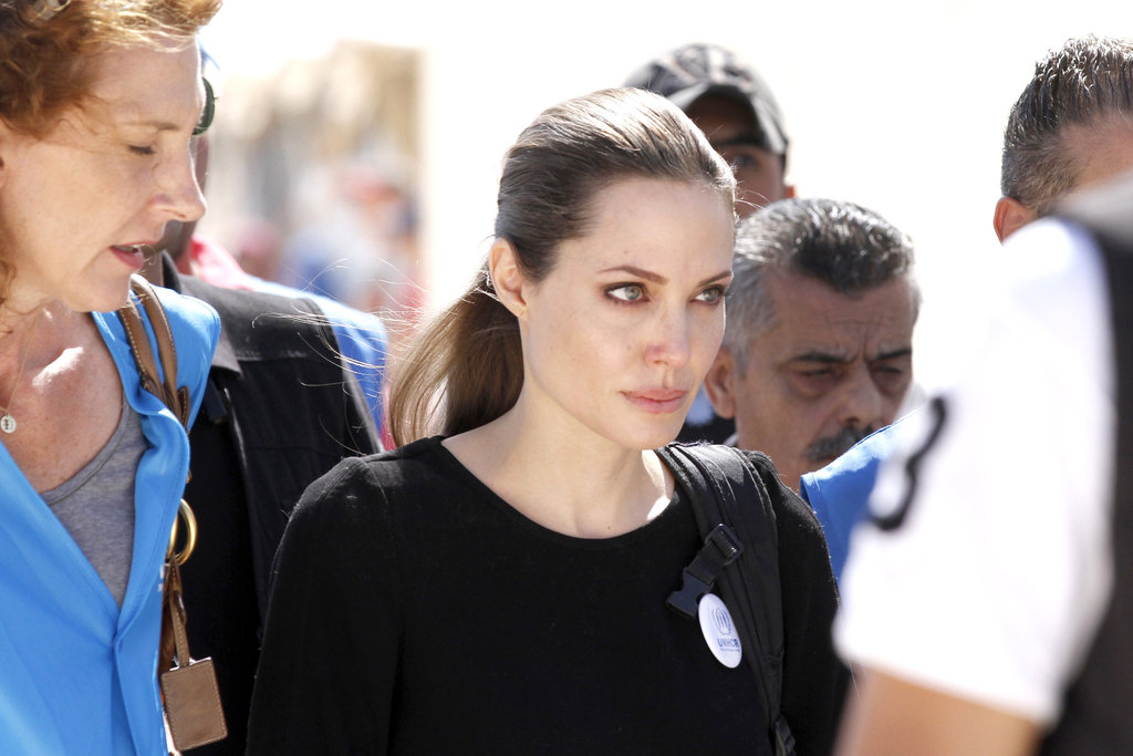 Angelina looked red-eyed and emotional.