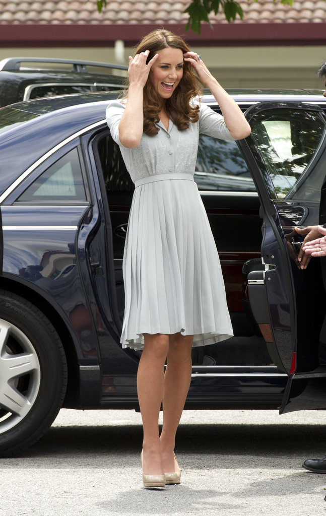 Kate Middleton wore a Jenny Packham dress to travel to Malaysia.