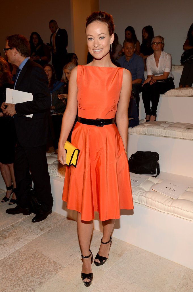 Olivia Wilde slipped into a bright fit-and-flare dress for Ralph Lauren's show at New York Fashion Week. We love the pop of yellow, too.