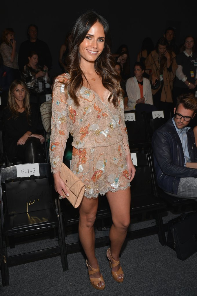 Jordana Brewster worked an embellished mini in Jenny Packham's front row.
