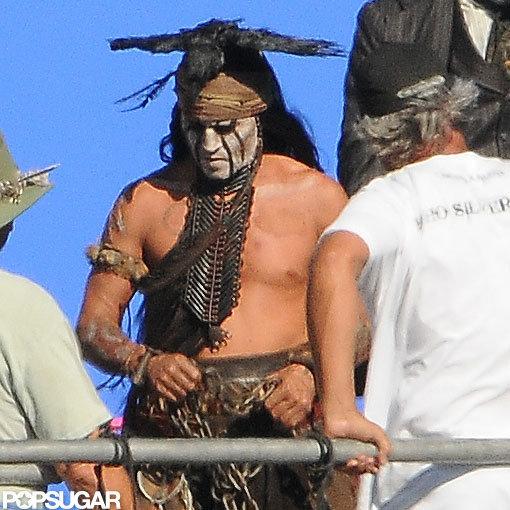 Johnny Depp went shirtless on set.