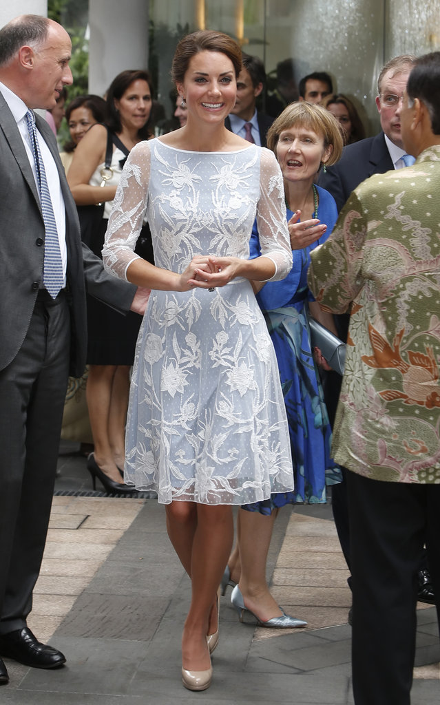 Keeping with the trend of pale blues, Kate donned yet another version of the color — this time with a sheer flower appliqué overlay. For day four of the Diamond Jubilee tour, her Temperley London dress proved a pretty daytime option.