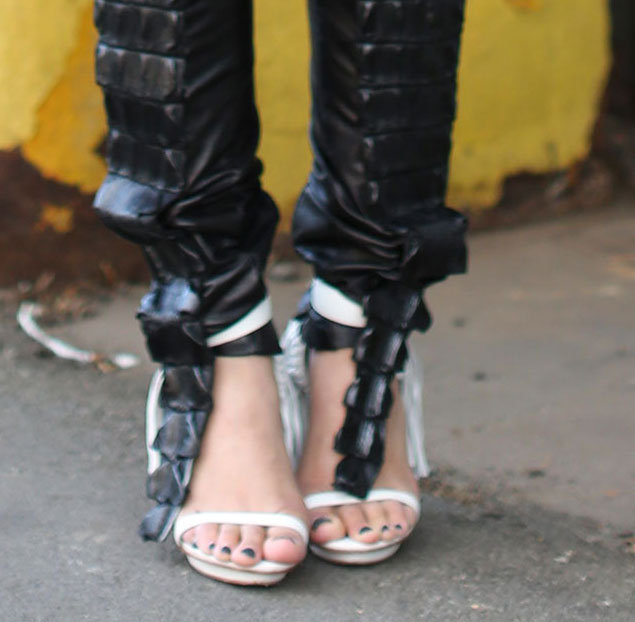 Major footwear met major leather pants. Source: Greg Kessler