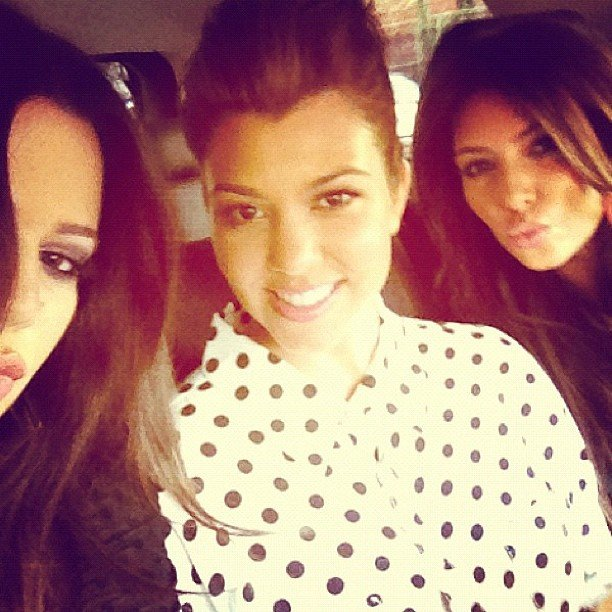 The Kardashian sisters — Khloe, Kourtney and Kim — took a backseat snap. Source: Instagram user kimkardashian