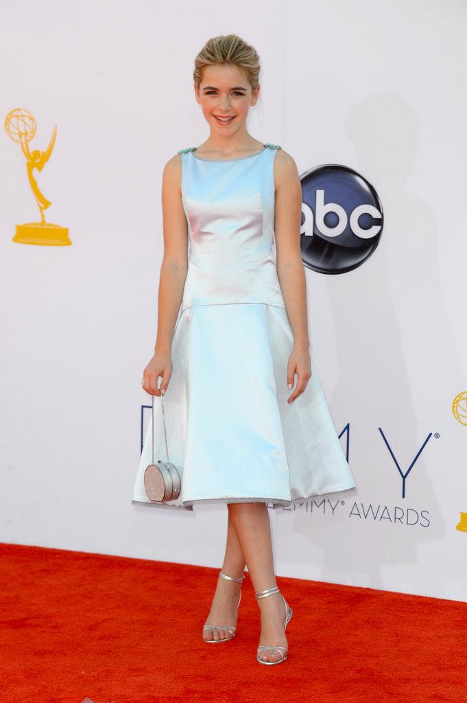 Kiernan Shipka wore a silver dress.