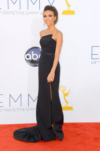 Giuliana Rancic wore a black gown on the red carpet at the Emmys.