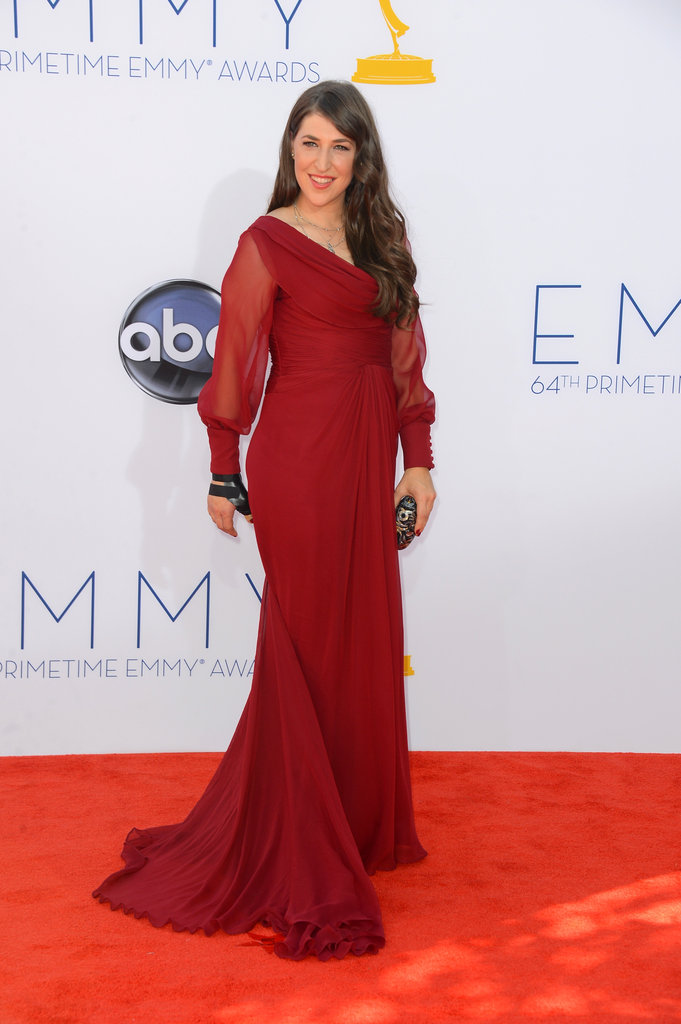 Mayim Bialik —mom to Miles, 6, and Frederick, 4 — covered up in red on the red carpet at the Emmys.