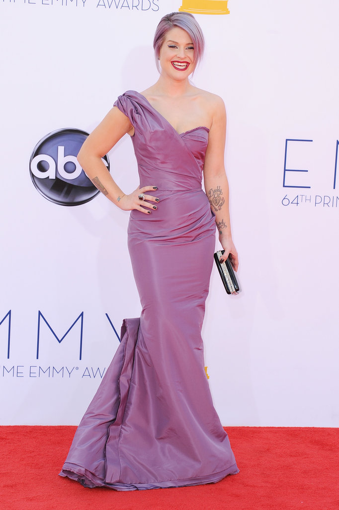 Kelly Osbourne matched her purple gown to her hair for the Emmy Awards.