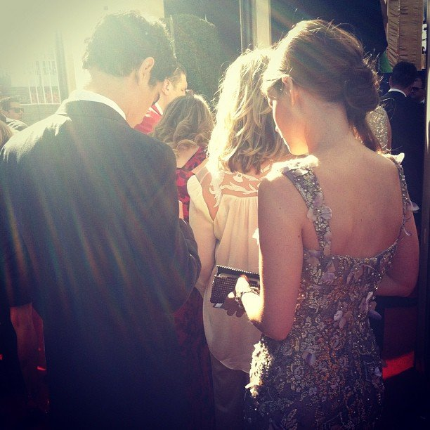 We got a closer view at Kate Mara's fancy gown on our way into the show. Source: Instagram user popsugar