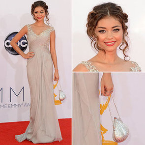Pictures of Modern Family Star Sarah Highland in custom Marchesa gown on the 2012 Emmy Awards red carpet