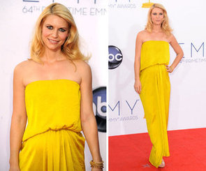 Pictures of Pregnant Claire Danes in Yellow Lanvin Dress at the 2012 Emmy Awards