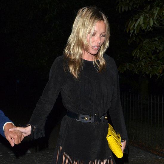 Kate Moss Wearing Black Fringe Dress