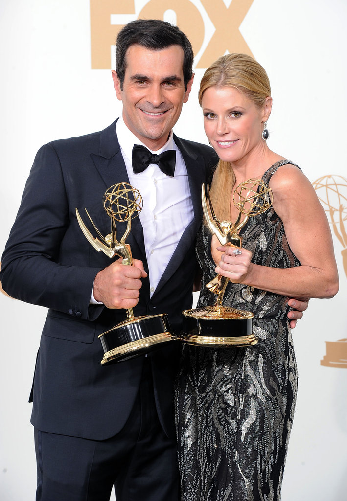 Modern Family couple Ty Burrell and Julie Bowen took home matching trophies.