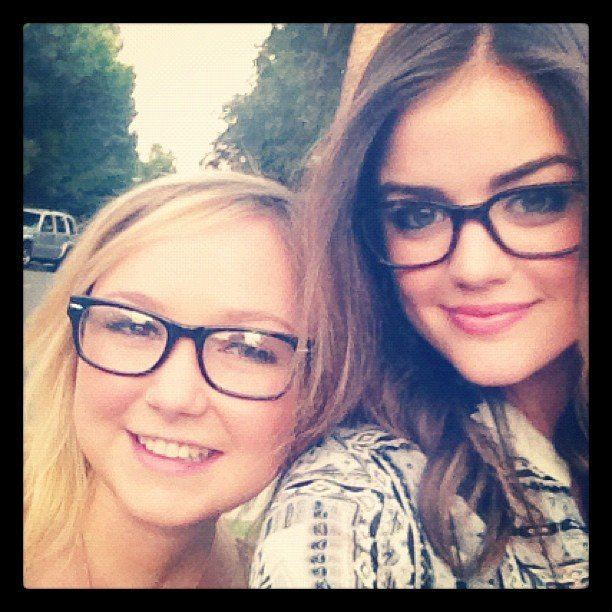 Lucy Hale and a friend wore matching glasses.  Source: Instagram user lucyhale89