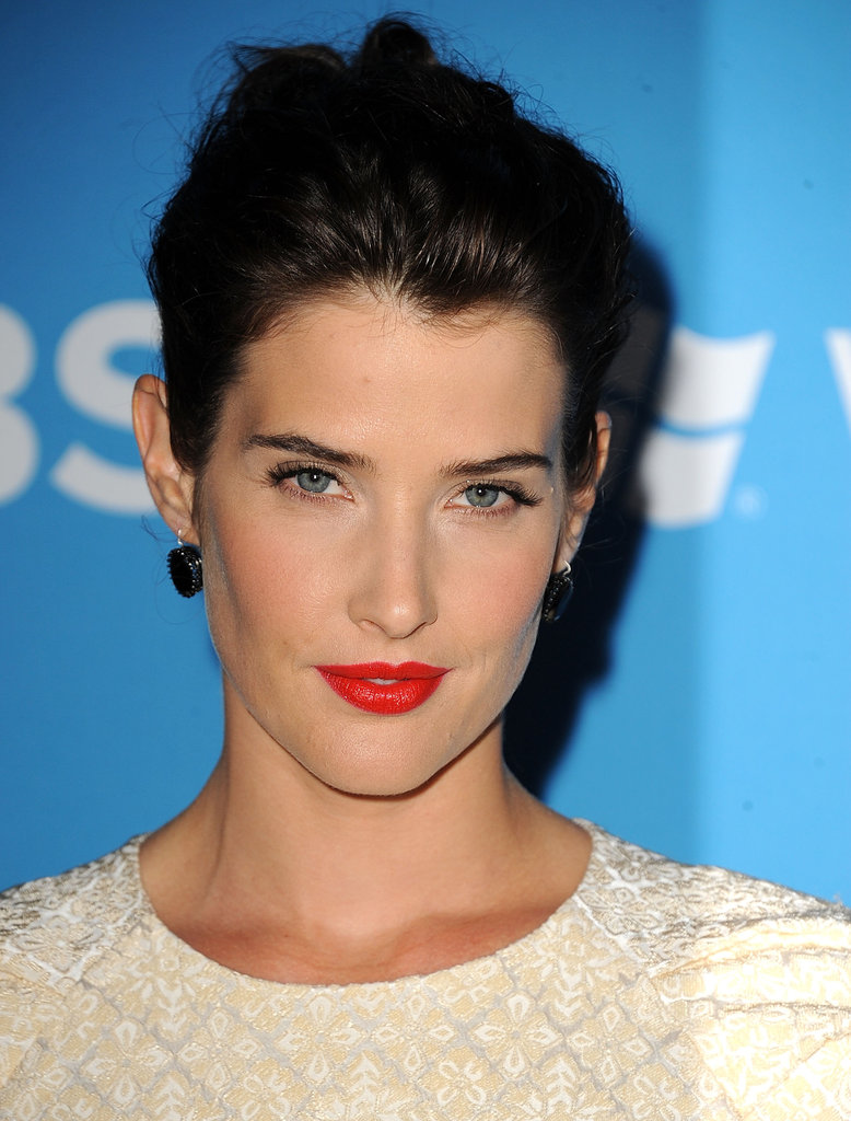 Cobie Smulders wore bright red lipstick to the CBS Fall premiere party in LA.