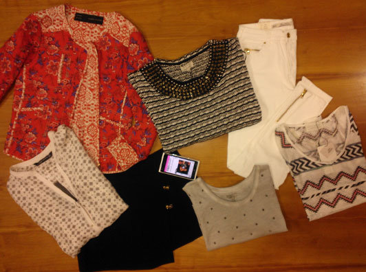 And the loot! Oops. May have gotten a little swept away in the moment. Clockwise from top left: quilted jacket $119, embellished knit, $69.95, waxed jeans $89.95, Aztec-print tee $35.95, studded tank $35.95, wrap-front short $69.95, printed silk blouse $89.95.