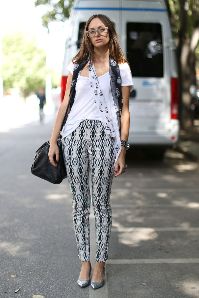 An understated play on printed pants goes a long way, even if it's just with a white t-shirt and metallic flats.