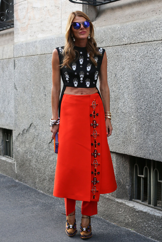 Anna Dello Russo bared her midriff and opted for quirky layers in this mix.