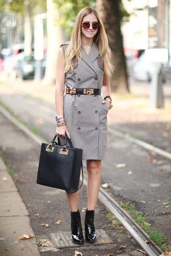 This trench made a chic alternative to the average day dress, and got entirely more polished with a sleek black tote, wide black belt, and slick patent ankle boots. Source: Greg Kessler