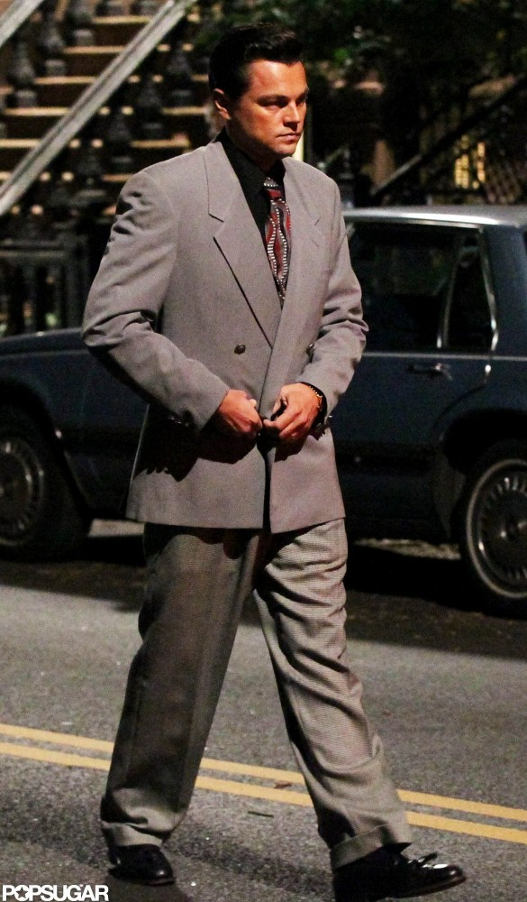 Leonardo DiCaprio wore a suit on the set of The Wolf of Wall Street.