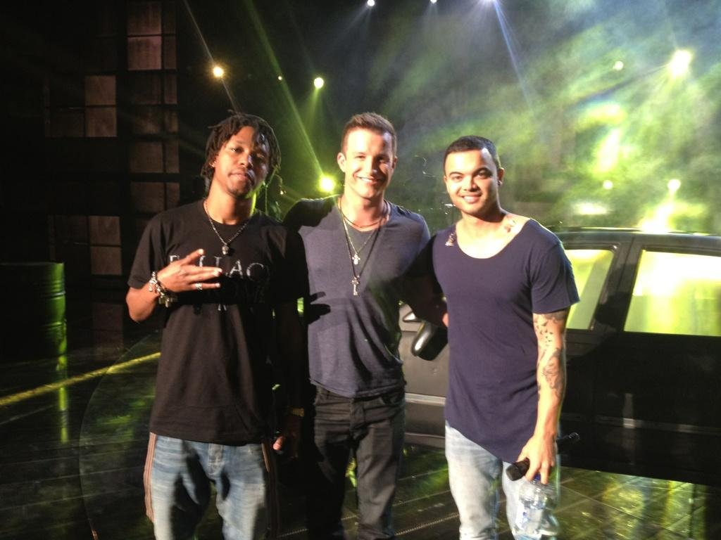 "Luke Jacobz posed with Lupe Fiasco and Guy Sebastian ahead of their ""Battle Scars"" performance on The X Factor. Source: Twitter user lukejacobz"