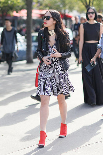 Red Balenciaga heels were the perfect pop of color against this black-and-white print.