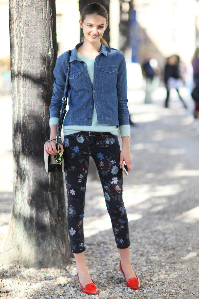 The moody printed florals gave new life to a basic chambray button-down.