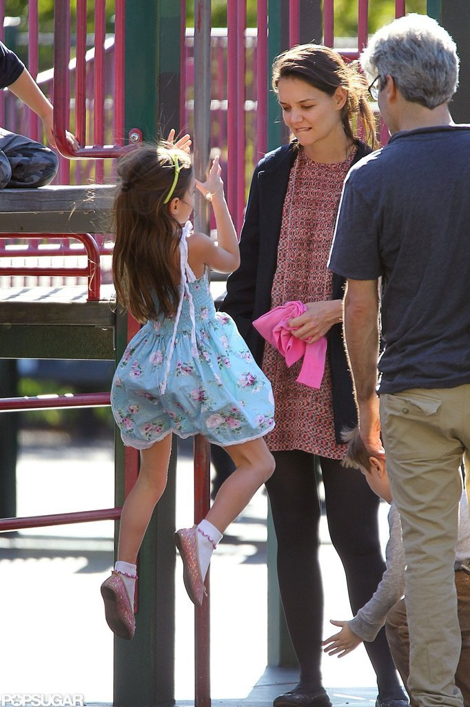 Katie Holmes took Suri to a playground in Brooklyn.