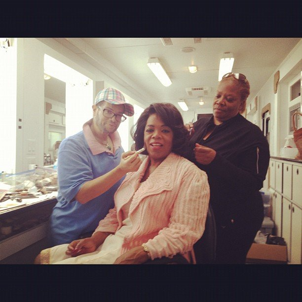 Oprah sat in hair and makeup on the set of The Butler. Source: Instagram user oprahwinfrey