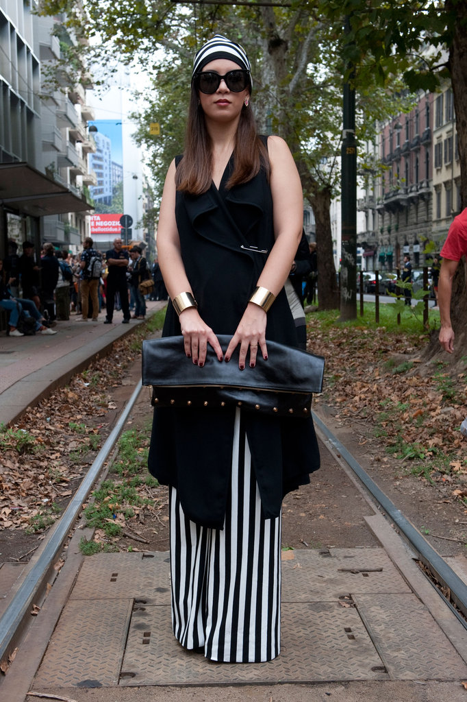 Add vertical stripes into the mix without making yourself an optical illusion via elongated wide-leg trousers. Source: IMAXtree
