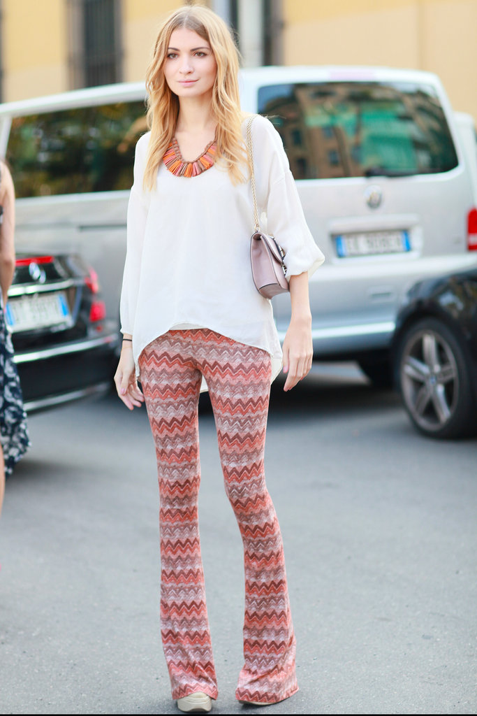 The disco days are back according to these flared zig-zag printed pants. Source: Greg Kessler