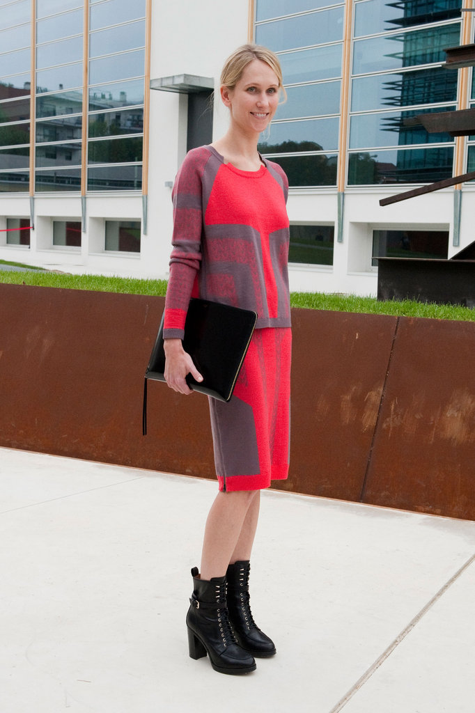 Pair a bold dress with even bolder boots — the architectural intrigue here is off the charts. Source: IMAXtree