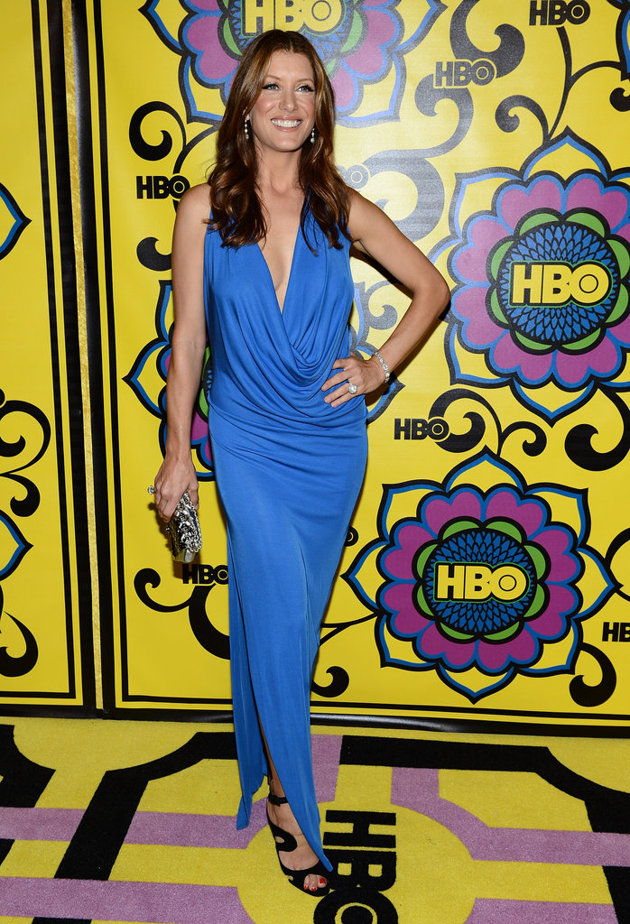 Kate Walsh brought brilliant color on a draped sky-blue gown that she paired with ankle-strap black heels.