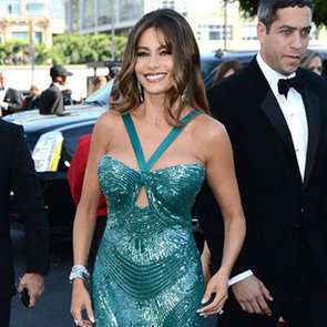 Sofia Vergara Pictures at 2012 Emmy Awards in Green Zuhair Murad Gown and Engagement Ring