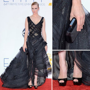 Pictures of Mad Men Star January Jones in Black Zac Posen Dress on the red carpet at the 2012 Emmy Awards