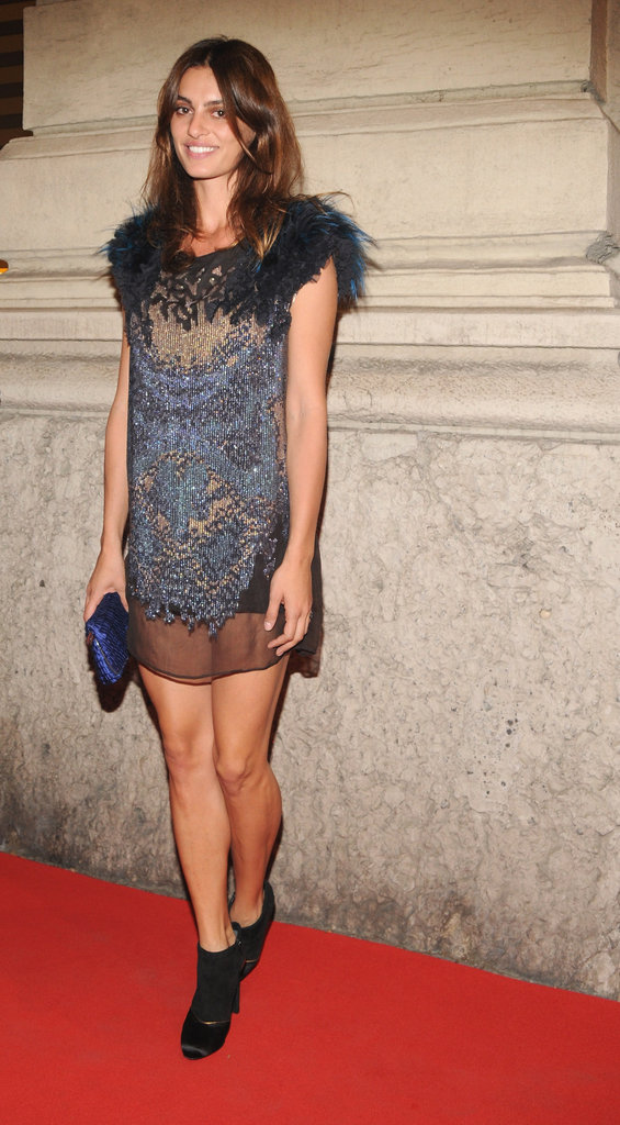 Catrinel Marlon made a case for something short, sheer, girlie, and feather adorned at the L'Officiel Italia cocktail party.