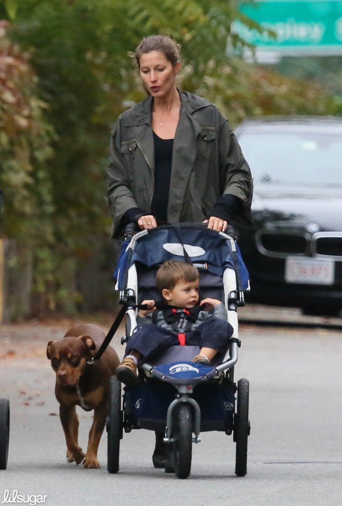 Gisele Bundchen pushed Benjamin Brady while walking the dog in Boston.