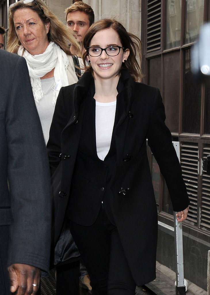 Emma Watson smiled on her way into BBC Radio 1 in London.