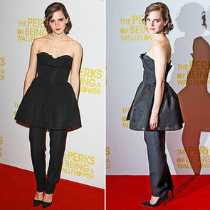 Pictures of Emma Watson in Christian Dior Couture Dress Over Pants at the London Screening of Perks of Being a Wallflower. Rate?