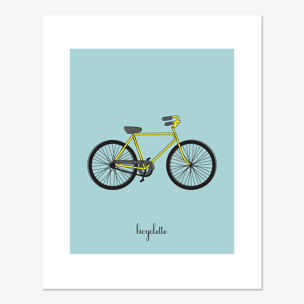 The blue bicyclette print ($20) is a fun, simple option for kids who love to ride.