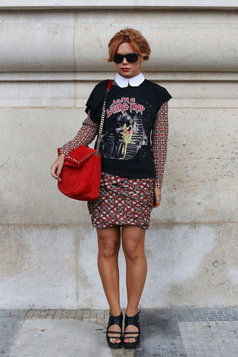 A printed collared dress may be sweet on its own, but coupled with a vintage tee and cutout wedges, it's decidedly edgy.