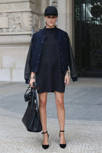 The varsity jacket and a cap gave this LBD look sporty appeal.