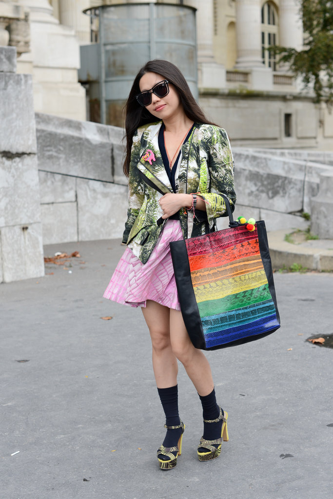 Rainbow hues and tropical prints made this an attention-getting ensemble.