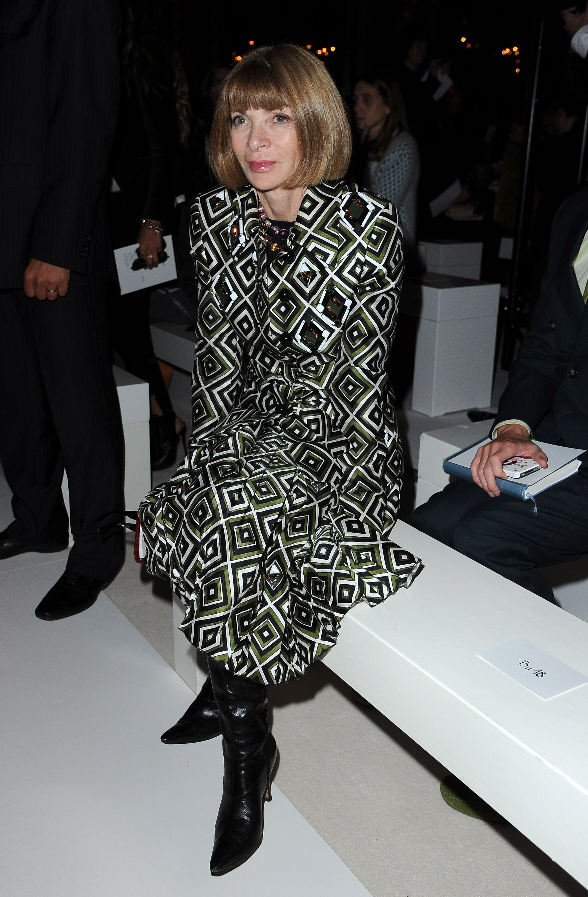 Anna Wintour is the latest chic style setter to step out in Prada's Fall '12 collection, as evidenced by her geometric-printed perfection at Balmain.