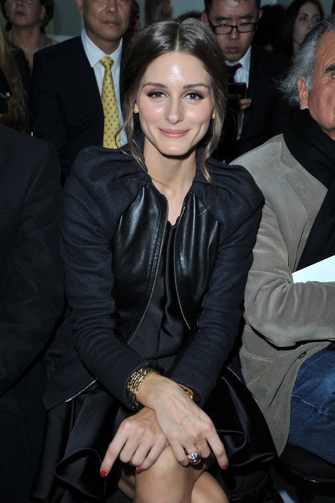 We spotted one of our favorites, Olivia Palermo, sitting front row at Christian Dior — in possibly the coolest ruched-shoulder jacket ever.
