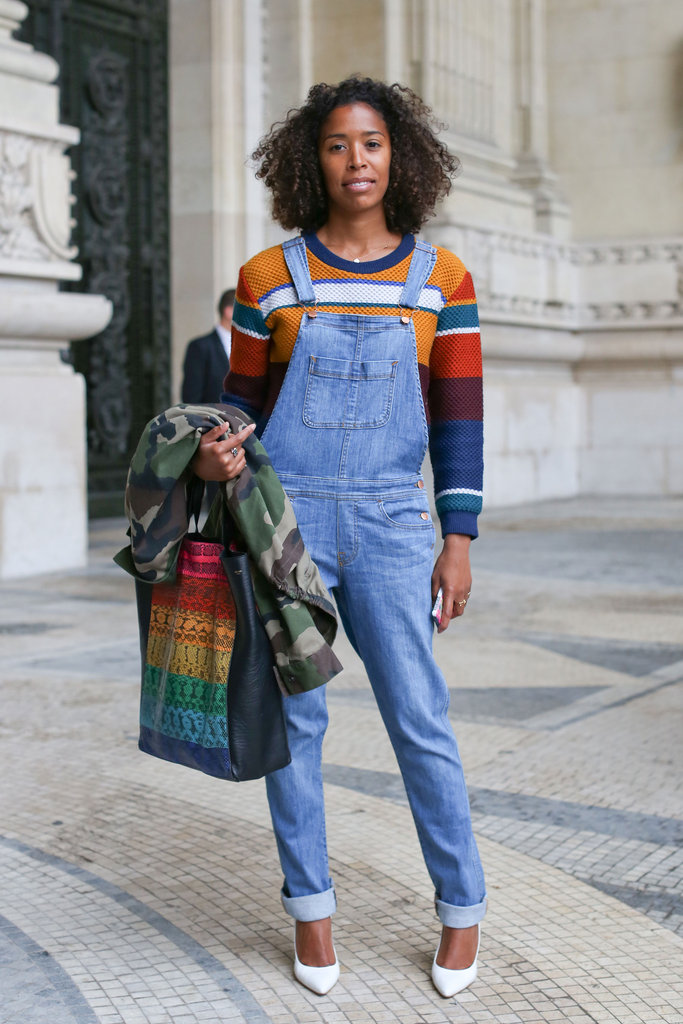 Overalls got a city-ready makeover with a striped tee and pumps.