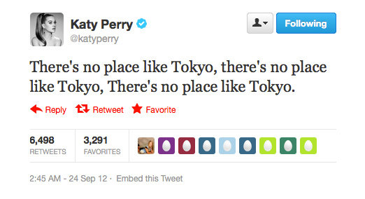 Katy Perry has found her spiritual home in Tokyo.