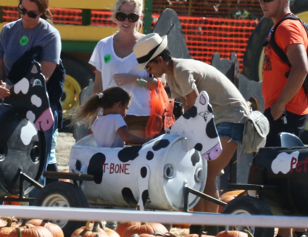 Halle Berry helped strap Nahla Aubrey into her seat on a ride at the pumpkin patch.