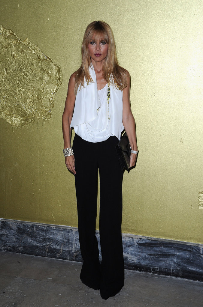 Rachel Zoe attended the Chloé 60th anniversary in a white top and black wide-leg pant combo.